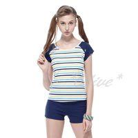 【沙兒斯品牌】亮麗經典條紋時尚二件式短袖泳裝 NO.B92660-02