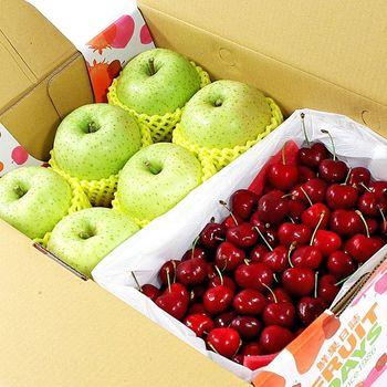 【鮮果日誌】平安禮讚櫻桃禮盒(日本王林蘋果6入+智利櫻桃2.5台斤)