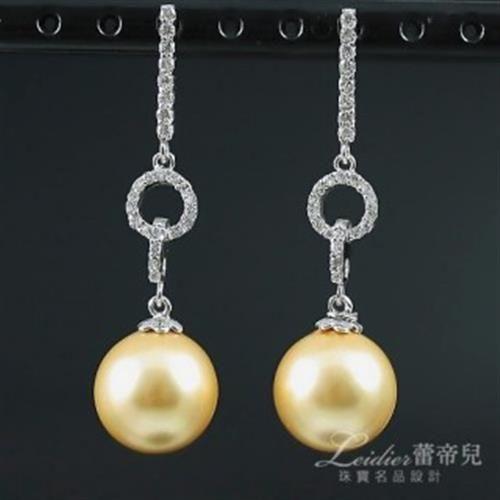 【蕾帝兒珠寶】高貴金色貝珠耳環