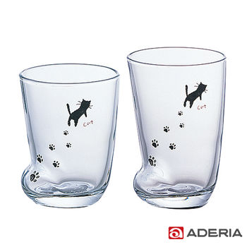 【ADERIA】日本進口足跡玻璃杯套組(貓款)