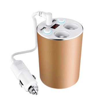 【IS愛思】CA-2C2UV1 杯架式多功能智慧雙USB+雙點菸孔輸出車充延長線