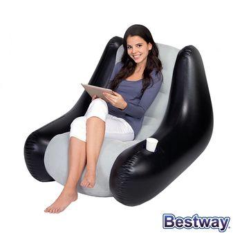 【BESTWAY】充氣式單人沙發椅/座椅 黑灰(75049)