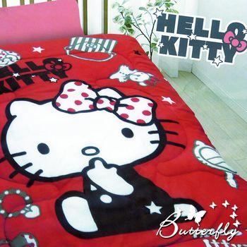 【HELLO KITTY】 凱蒂貓 搖粒絨暖暖被 時尚寶盒-紅