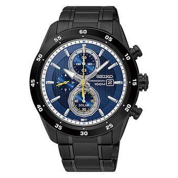 SEIKO 精工 Criteria 時刻玩家三眼計時不鏽鋼腕錶/44mm/V176-0AR0SD(SSC543P1)