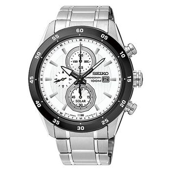 SEIKO 精工 Criteria 白晝之夜三眼計時不鏽鋼腕錶/44mm/V176-0AR0W(SSC535P1)