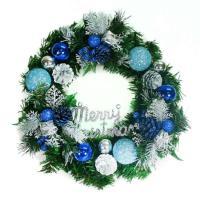 14吋豪華高級綠色聖誕花圈(藍銀色系)(台灣手工組裝)