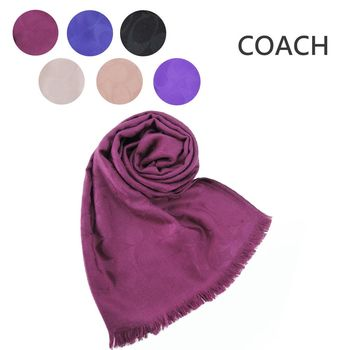 COACH C LOGO 羊毛混絲流蘇圍巾(6色選)