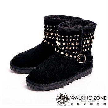 【WALKING ZONE】經典鉚釘造型內刷毛雪靴-黑