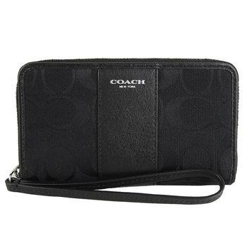 COACH 真皮飾邊卡夾手機包(黑)