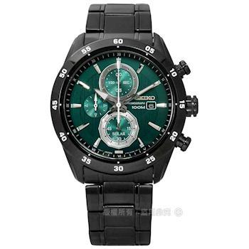 SEIKO 精工 / V176-0AR0G.SSC547P1 / criteria 爵士內斂三環太陽能不鏽鋼手錶 綠x鍍黑 43mm