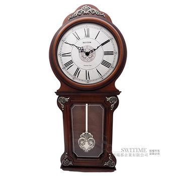 【RHYTHM日本麗聲】 古典巴洛克雕花擺錘整點報時壁掛鐘