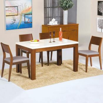 Homelike 菲麗絲4.3尺石面餐桌椅組(一桌四椅)-柚木色
