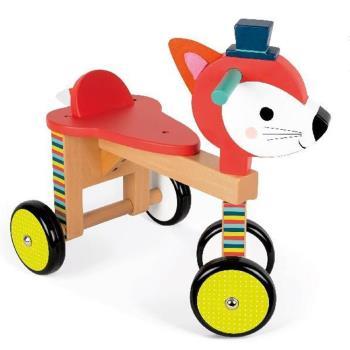 【法國 Janod】經典設計木玩-寶寶小狐滑車
