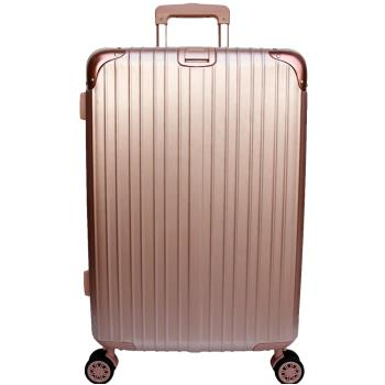 【YC Eason】麗致24吋PC髮絲紋可加大海關鎖行李箱 玫瑰金