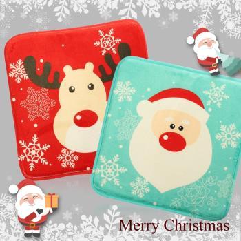 耶誕造型秋冬法蘭絨椅墊地墊組合(椅墊x1+地墊x1)