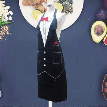【iSmart】台灣製造 防潑水隔熱 創意服務生圍裙/ 餐廳制服/ 派對變裝/ 廚房圍裙