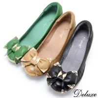【Deluxe】全真皮神秘金屬雙蝴蝶結編織增高鞋(棕-綠-黑)-82-A28