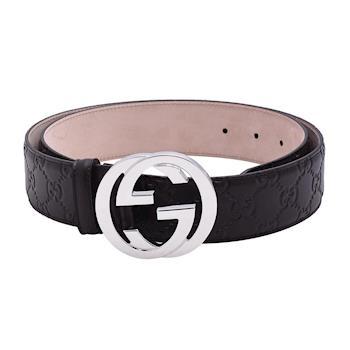 GUCCI 經典Guccissima GG壓紋銀釦牛皮腰帶/皮帶(咖啡-85CM)