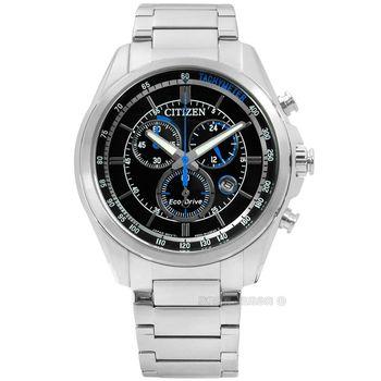 CITIZEN 星辰表 / AT2130-83E / 時尚競速快感三眼計時光動能不鏽鋼手錶 黑色 43mm