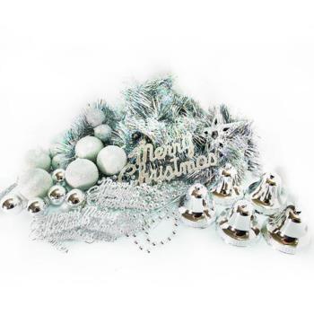 聖誕裝飾配件包組合~純銀色系 (2尺(60cm)樹適用)(不含聖誕樹)(不含燈)