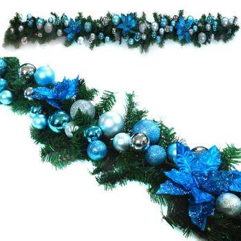 6呎(180cm)裝飾電鍍球樹藤條 (藍銀系/自行簡易DIY組裝) (可彎曲調整/可掛門邊/窗邊/牆沿)