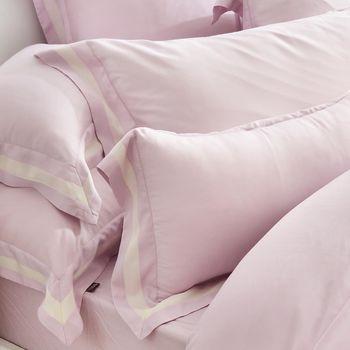 義大利La Belle《法式簡約-紫》雙人天絲拼接四件式防蹣抗菌舖棉兩用被床包組
