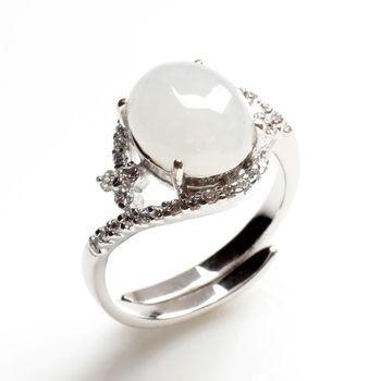 【雅紅珠寶】眉清目秀天然4克拉冰糯種白翡翠戒指-活圍設計