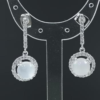【蕾帝兒珠寶】圓寶白玉隨耳環