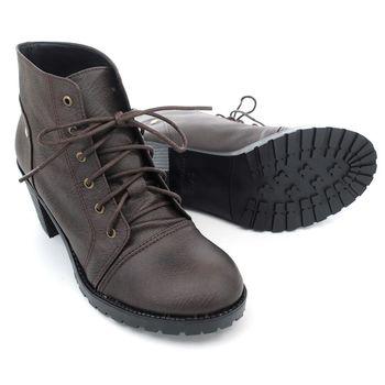【 cher美鞋】MIT英倫復古粗跟小短靴(黑/棕/咖)♥LNST-AG