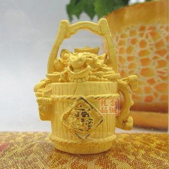 [協貿國際]   絨沙金元寶一桶金擺飾