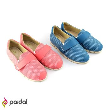 Paidal可愛點點經典百搭輕運動休閒鞋樂福鞋懶人鞋-甜美粉/海洋藍-2色任選