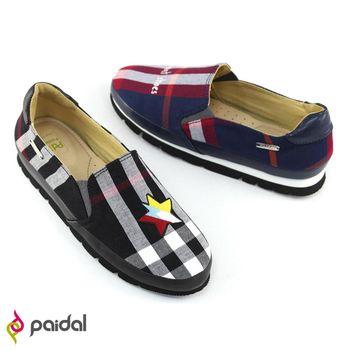 Paidal蘇格蘭格紋龐克風輕運動休閒鞋樂福鞋懶人鞋-英國藍/時尚黑-2色任選