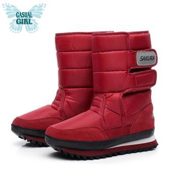 Casual Girl「SKR」保暖太空雪靴-酒紅