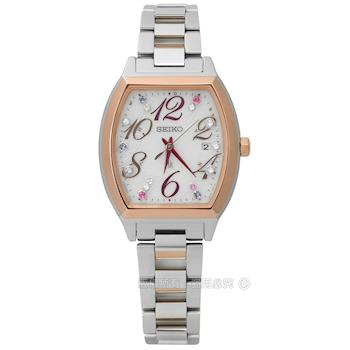 SEIKO 精工 / 1B22-0BB0KS.SSVW082J / LUKIA 施華洛世奇太陽能電波不鏽鋼手錶 銀x鍍玫瑰金 27mm
