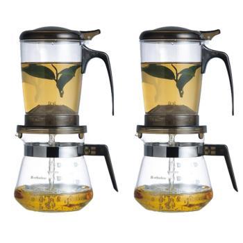 丞漢快速沖泡壺咖啡兩用泡茶壺+玻璃小巧壺(2入)