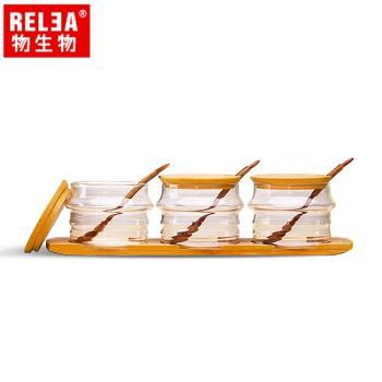 香港RELEA物生物 耐熱玻璃調味罐3件套裝組含竹蓋、木勺、竹木底盤