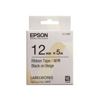 EPSON LC-4JBK C53S625048 緞帶系列米色底黑字標籤帶(寬度12mm)