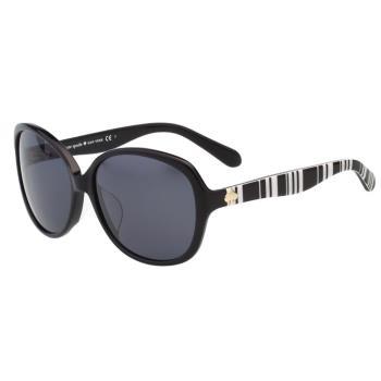 Kate Spade- 圓面 黑白條紋 太陽眼鏡(黑色)