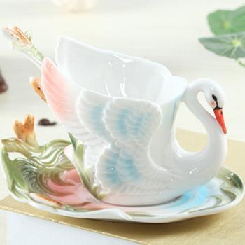 【Pure】漸層色彩質感天鵝骨瓷杯盤組