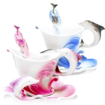 【Pure】海豚造型精緻骨瓷杯盤組(150ml)共兩色