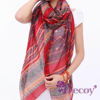 【Decoy】民族圖騰*幾合棉柔圍巾/紅