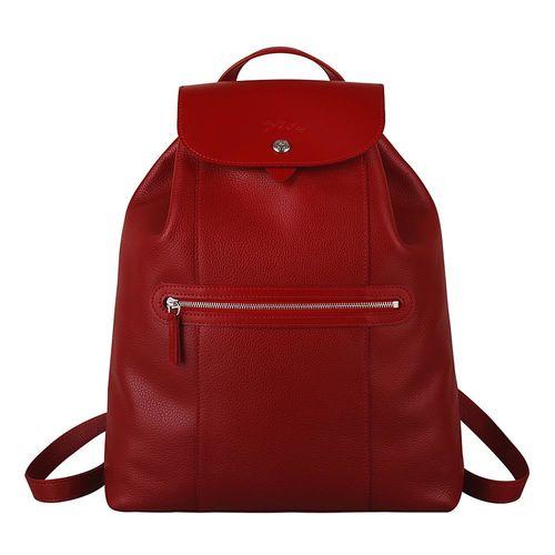 LONGCHAMP LE FOULONNE系列皮革束口後背包(紅)