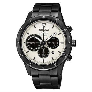 SEIKO Criteria 極速太陽能計時碼錶-米白x鍍黑/41mm V175-0DA0W(SSC337P1)