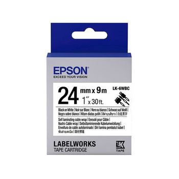 EPSON LK-6WBC C53S656901 線材標籤系列白底黑字標籤帶(寬度24mm)