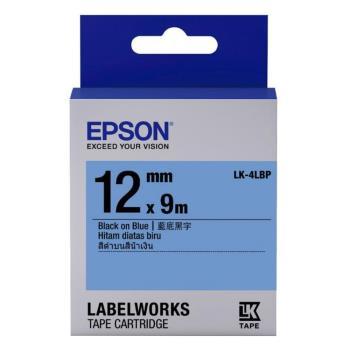 EPSON LK-4LBP 粉彩系列藍底黑字標籤帶(寬度12mm)