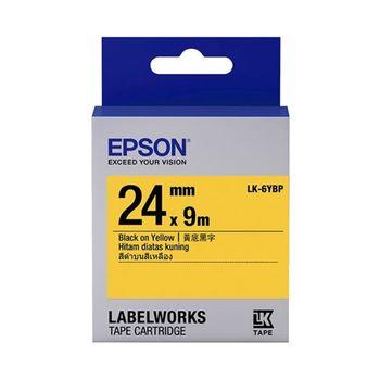 EPSON LK-6YBP 粉彩系列黃底黑字標籤帶(寬度24mm)