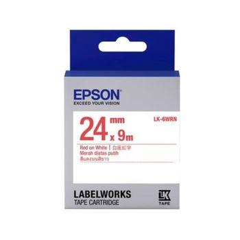 EPSON LK-6WRN 一般系列白底紅字標籤帶(寬度24mm )