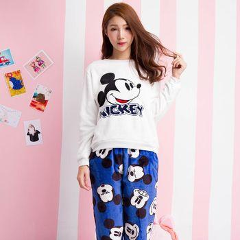 Wonderland 迪士尼米奇 水貂絨居家衣褲組