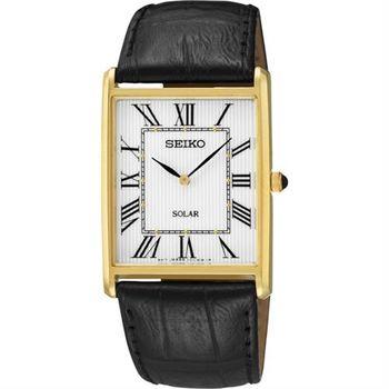 SEIKO SOLAR 太陽能羅馬城市風尚腕錶-白x金/28mm V115-0BC0S(SUP880P1)