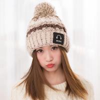 【幸福揚邑】MUSIC潮流雙層保暖護耳小顏拚色毛球針織毛線帽-卡其